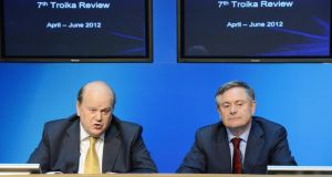 Minister for Finance  Michael Noonan and Minister for Public Expenditure Brendan Howlin. Tough exchanges between the Government and the troika on a revised Croke Park deal can be expected. Photograph: Alan Betson