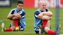 Paul O'Connell and  Conor Murray during a Lions squad training session at  Carton House, Maynooth, Co Kildare, yesterday. Photograph: Billy Stickland/Inpho