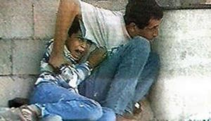 The television footage of Jamal el-Dura together with his 12-year-old son Muhammad, crouching in fear  as bullets flew by, became the most powerful image of the  Palestinian uprising in 2000.