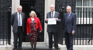 From left: Geoffrey Vero, Dillis Miles, Bob Willard and Ed Costello, part of a group of more than 30 local Conservative Party members and former members who are  calling on  David Cameron to abandon attempts to redefine marriage, hand in a letter to Number 10 Downing Street. Photograph:  PA Wire