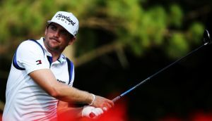 Keegan Bradley, US PGA champion in 2011, is one of the best known exponents of anchored putting. Photograph: Getty Images.