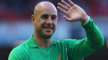 Pepe Reina waves to the crowd following the Barclays Premier League match between Liverpool and Queens Park Rangers at Anfield. Photograph: Julian Finney/Getty Images