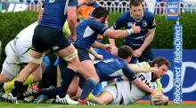 Ospreys Dan Biggar scores a try against Leinster at the RDS. Lorraine O'Sullivan/Inpho