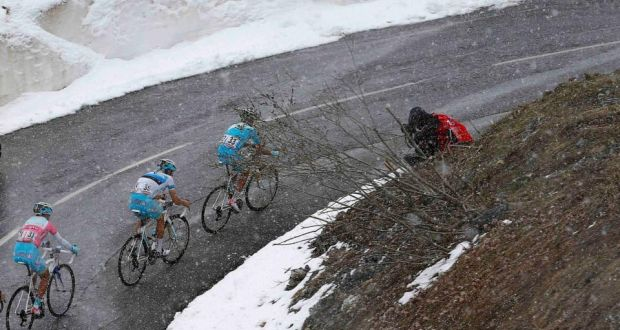 Italy's Vincenzo Nibali (left) climbs during yesdaterday's 15th stage of the  Giro d'Italia. Photograph: Reuters.