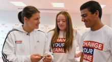 Olympic gold Mndallist Katie Taylor, with Marino College Dublin pupils Jessica Kirwan and Abuduhl Alsfadi at the launch of the Sky Sports Living for Sport initiative. Photograph: David Maher/Sportsfile