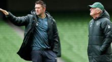 Robbie Keane and Republic of Ireland manager Giovanni Trapattoni. Photograph: Donall Farmer/Inpho
