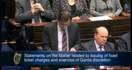 Screen grab of Minister for Justice Alan Shatter speaking in the Dáil this evening