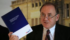 Peter Dawson, chief executive of the R&A at a press conference on Tuesday to explain the banning of anchored stokes. Photograph: Getty Images