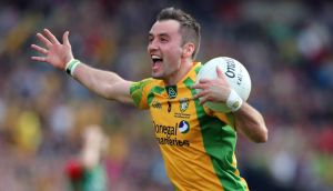 Donegal's Karl Lacey celebrates  Donegal's victory over Mayo in last year's All-Ireland final. Photograph: Donall Farmer/Inpho