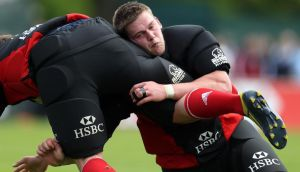 Dan Lydiate in action during the  Lions'  training session in Carton House yesterday. Photograph: Dan Sheridan/Inpho