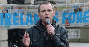 People Before Profit TD Richard Boyd Barrett during a protest earlier this year against the sale of Coillte harvesting rights. He said it was clear that people cared about the sale of the country's natural resources. Photograph: Brenda Fitzsimons
