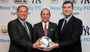 New York Yankees' Randy Levine (left), MLS commissioner Don Garber (centre) and Manchester City chief executive Ferran Soriano.