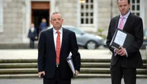 Oireachtas Health committee chairman, Jerry Buttimer TD (left) and Paul Kelly (clerk) , at the Oireachtas health committee hearings, at Leinster House, Dublin eariler this week.  The report of the discussions on the broad outline of the planned legislation is due to be presented to Government by Thursday, May 30th.  Photograph: Eric Luke