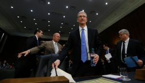 Apple chief executive Tim Cook arrives to testify at a Senate subcommittee hearing on offshore profit shifting on Capitol Hill in Washington yesterday. Photograph: Jason Reed/Reuters