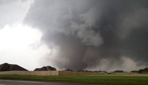 A huge tornado approaching the town of Moore, Oklahoma on Monday. Photograph: Richard Rowe/Reuters