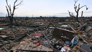 The rubble of a destroyed neighbourhood in Moore, Oklahoma yesterday. Photograph: Brennan Linsley/AP Photo