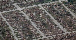 An aerial view of damage  in Moore, Oklahoma  in the aftermath of a tornado which ravaged the suburb of Oklahoma City. At least 24 people died in the area. Photograph: Rick Wilking/Reuters