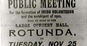 Poster advertising first meeting of Irish Volunteers on November 25th, 1913. Photograph:  National Museum of Ireland