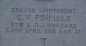 An engraving from the headstone of Guy Vickery Pinfield, who was reburied in Grangegorman cemetery in Dublin in 1963 after his temporary grave in Dublin Castle was discovered in 1962.