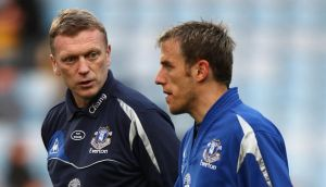 Outgoing  Everton manager David Moyes (right) and Phil Neville. Photograph: David Davies/PA Wire