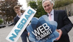 Web Summit founder Paddy Cosgrave and Minister for Jobs, Enterprise and Innovation Richard Bruton. The Nasdaq opening bell will be rung onstage at the RDS during the Web Summit on October 30th, marking it the first time Nasdaq stock market has been opened from Ireland.