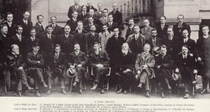 James O'Mara with the other members of the first Dáil. He is standing to the back directly under the railings (with moustache).