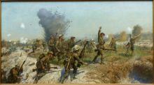 The Battle of the Somme - the Attack of the Ulster Division, painted by JP Beadle.