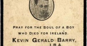 A memorial card to Kevin Barry.