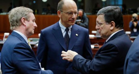 Taoiseach Enda Kenny and Italy's Prime Minister Enrico Letta listen to European Commission President Jose Manuel Barroso during a European Union leaders summit in Brussels today. Photograph:  REUTERS/Francois Lenoir