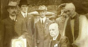 "James Hamilton, second Duke of Abercorn, at the signing of the Ulster Covenant in 1912 at the chapel on his Baronscourt estate in Tyrone after inspecting ""drilled men"" of the local unionist clubs."