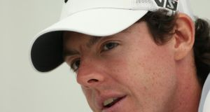 Rory McIlroy answers questions from the media at a press conference during the Pro-Am round prior to the BMW PGA Championship on the West Course at Wentworth. Photograph: Warren Little/Getty Images