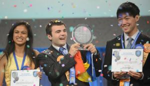 Intel International Science and Engineering Fair winners Eesha Khare, Ionut Alexandru Budisteanu and Henry Wanjune.