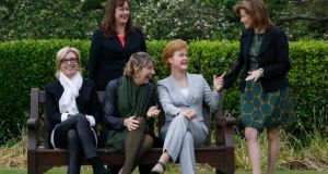 Moya Doherty (left) with Women on Air chairwoman Caroline Erskine, broadcasters Áine Lawlor and Ursula Halligan and Women on Air founder Margaret E Ward (right), in the grounds of RTÉ. Photograph: Robbie Reynolds