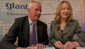 Glanbia group managing director John Moloney and group managing director designate Siobhán Talbot at the company's AGM at the Newpark Hotel in Kilkenny was. Picture: Dylan Vaughan.