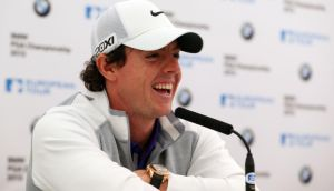 A rare moment of levity for Rory McIlroy at a press conference for the BMW PGA Championship on the West Course at Wentworth. Photograph: Getty