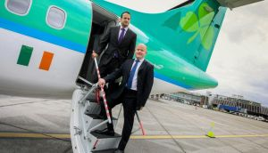 Minister for Transport, Tourism and Sport, Leo Varadkar gets a tour of the first of eight new Aer Arann aircrafts from Seán Brogan, Interim CEO, Aer Arann  at Dublin Airport. Photograph: Maxwell's