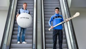 "Dublin footballer Paul Flynn  and hurler Danny Sutcliffe at the launch of the jersey initiative and Pieta House ""Mind our men"" campaign in Dublin on Wednesday. Photograph: Sportsfile"