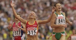 Sonia O'Sullivan is beaten by Marta Dominguez in the women's 5,000 metres final at the 18th European Championships at the Olympic Stadium in Munich on August 10th, 2002.
