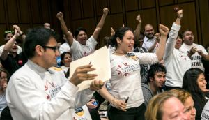 Supporters of immigration reform cheer after the Senate Judiciary Committee approved legislation to overhaul the nation's immigration laws, on Capitol Hill. Photograph: Drew Angerer/The New York Times