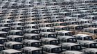 Chinese Changan cars are parked inside a factory in Chongqing. Data released today show China's manufacturing is contracting in May for the first time in seven months. Photograph: Reuters.