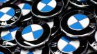 BMW emblems next to the production line of the German car manufacturer's plant in the Bavarian city of Dingolfing. Figures released today show eurozone factory output is rising with car sales in the EU increasing last month for the first time since September 2011. Photograph: Michaela Rehle/Reuters.