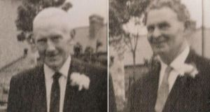 Two sides, one wedding: Sean Morgan (1900-1983, left) joined the IRA and took anti-Treaty side in the Civil War. He was jailed in Mountjoy and became a teacher after the war. Edward Drew (1902-1992) joined the IRA but took pro-Treaty side in the war. Afterwards he became a garda. They met just once at the wedding pictured in 1967.