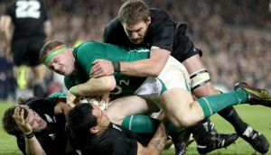 Current  Ireland captain Jamie Heaslip battles with Hosea Gear, Richie McCaw and Kieran Read of New Zealand at the Aviva Stadium in 2010.  Photograph: James Crombie/Inpho