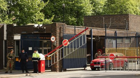The entrance to Woolwich barracks in London, where the late soldier was stationed. Security was tightened at the barracks after his death. Photograph: Dan Kitwood/Getty Images