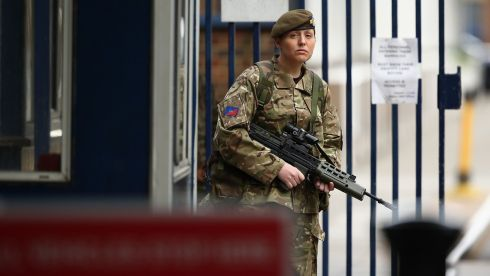 Female soldier on duty at Woolwich barracks. Photograph: Dan Kitwood/Getty Images