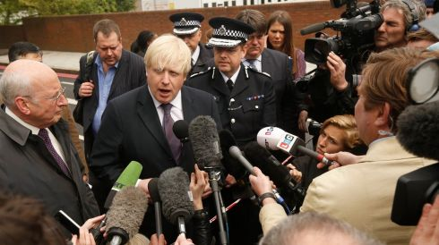 Mayor of London Boris Johnson speaks to the media near the scene of the killing of a British soldier in Woolwich, southeast London, on the day after the killing. Photograph: Luke MacGregor/Reuters