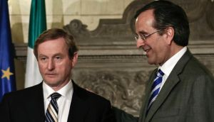 Taoiseach Enda Kenny and Greek prime minister Antonis Samaras at a news briefing in Athens today. Photograph: Yorgos Karahalis/Reuters
