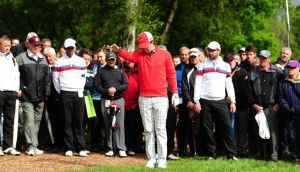 Northern Ireland's Rory McIlroy takes a drop during Round One of the BMW PGA Championship at the Wentworth Club, Surrey. Photograph: Adam Davy/PA Wire