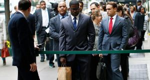 A file photograph of US jobseekers standing in line to meet with prospective employers at a career fair in New York City. Photograph:  Mike Segar/Files/Reuters.
