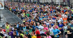The start of last year's Dublin Marathon where over 14,200 runners competed. This year is set to top 15,000 entrants. Photograph: Cyril Byrne/The Irish Times